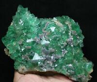 2.87lb Natural jade green Octahedral Fluorite Crystal Cluster Mineral Specimen