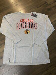 Nwt Fanatics Chicago Blackhawks Mens Size 2XLB Gray Long Sleeve Tshirt