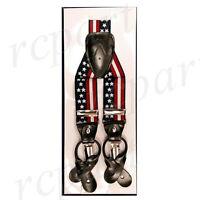 New Y back Men's Vesuvio Napoli Suspenders Braces clip on US Flag Red White Blue