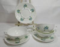 COALPORT England Fine Bone China TINTERN 3 Cream Soup Bowls w/Under Plates