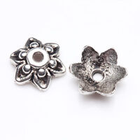 Wholesale 100/200Pcs Tibetan Silver Carved Flower Shaped Bead Caps DIY 9*3mm