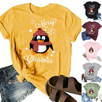 Women Christmas Letter Print Short Sleeve O-Neck T-Shirt Tunic Loose Blouse Tops