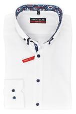 Marvelis Body Fit Hemd Button Down Doppelkragen bügelleicht Uni Weiß Baumwolle