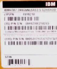 IBM 49Y6210 4TB 7.2K 6GBPS NL SAS 3.5 G2HS HDD (A4AF) *NEW 49Y6214, 49Y6211
