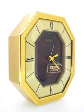 Seiko Quartz desk or table Alarm Clock, dark red face, hexagonal dial, QEJ196R