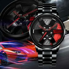 Rim Hub Car Wheel Watch Men Wristwatch Stainless Steel Sports Quartz Wrist