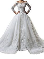 Vintage Lace Mermaid Wedding Dresses Detachable Skirt Bridal Ball Gowns Custom