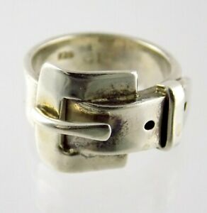 CII Mexico Sterling Silver Belt Buckle Band Ring 925 Size 8 Weighs 10 Grams