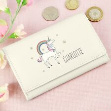 PERSONALISED Purse - Unicorn Girls, Ladies Name. GENUINE LEATHER. Cream/Pink.
