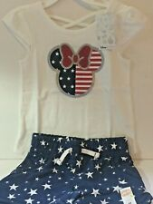 Disney Toddler Girl 4T Shorts Outfit Minnie Mouse Patriotic New