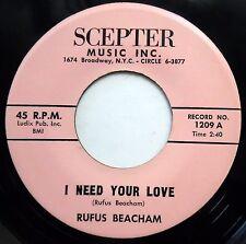 RUFUS BEACHAM 45 When You Call My Name / I Need Your Love VG++ Doo Wop bb3217