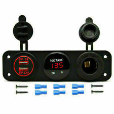 Dual USB Charger Power Socket Red LED Voltmeter 3 Hole Switch Panel Car Boat RV