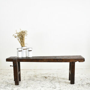 Industrial Vintage French Antique Workbench Console Table