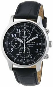Seiko Classic Chronograph SNDC33 Leather Band Men's Watch
