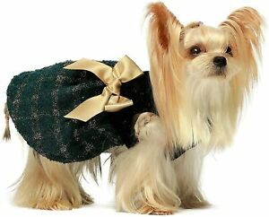 Fitwarm Golden Plaid Dog Dress Doggie Skirt Girl One-Piece with Bowknot for Pet
