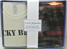 Lucky Brand Mens Sleep Set S Flannel Pajama Pants Long Sleeve Thermal Crew Shirt