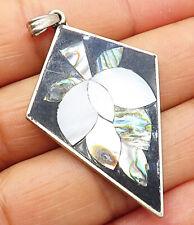 Multi-Gemstone Floral Drop Pendant - P4103 Mexico 925 Sterling Silver - Vintage