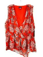 Vince Camuto Red Floral V-neck Sleeveless Peplum Top Womens Plus Size 1X