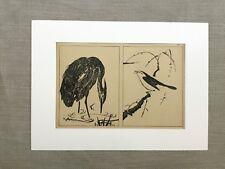 Antique Japanese Print Ooka Shunboku Heron Crane Bird Old Japan Art