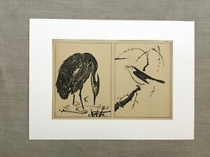 1890 Antique Print Japanese Painting Heron Crane Bird Ooka Shunboku