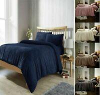 New PLAIN TEDDY BEAR Fleece Duvet Cover Set Pillow Case Sherpa Warm Soft Bedding
