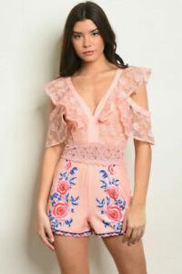 Boutique Pink Rose Lace Ruffle Cold Shoulder Romper