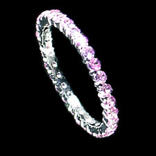 Prong Set_Narrow_Pink Cz Eternity Band Ring_Sz-6_925 Sterling Silver-Nf