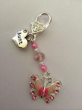 Pink Butterfly Handbag Charm Key-ring Nan Grandma Aunt Sister Niece Mummy