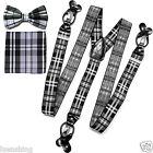 New in box Men's Suspender Braces Bowtie Hankie Set Elastic Strap plaid Gray