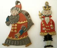 Vintage Nutcracker King & Santa Christmas Enameled Pewter? Lead? Ornaments