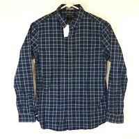 Banana Republic Mens Blue Plaid Pearl Snap Button Shirt Size M Tailored Slim Fit