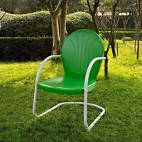 Crosley Griffith Metal Patio Chair in Grasshopper Green