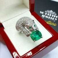 5.80Ct Oval Brilliant Cut Emerald Panther Engagement Ring 14K White Gold Finish