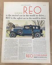 Reo automobile print ad 1930  vintage illustration retro art car Flying Cloud