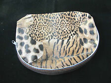 Animal Print Make Up Pouch Zipper Closure Leopard Zebra Tiger BROWN