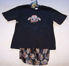 Wests Tigers Nrl Boys Black Printed Cotton Satin Pyjama Set Size 4 New