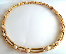 St  John ?  GOLD PLATED & PEARL CHOKER  NECKLACE   Estate Jewelry Nice