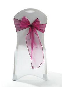 100 Burgundy Sparkle Organza Chair Cover Sash Bow Wedding Party UK
