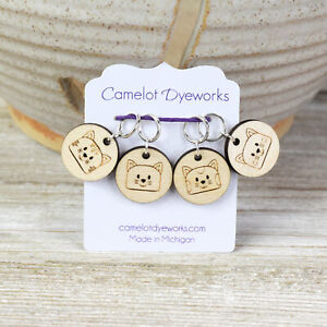 Set of 4 Stitch Markers, Cat Faces, Laser Engraved Wood Stitch Markers