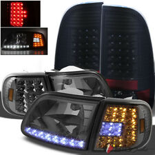 For 97-03 F150 Smoked Headlights LED Corner Set + Black Smoked LED Tail Lights