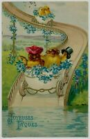~Unusual~Dressed Chicks in Egg Cars on Water Slide ~Antique~Easter Postcard-s115
