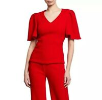 Brandon Maxwell Top 2 Red Flutter Sleeve V Neck Blouse Wool Women's NWT $1295