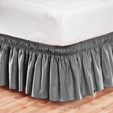 Elastic Bed Skirt Dust Ruffle Easy Fit Wrap Around Gray Color Queen Size