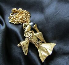 Vintage Gold Metal Heavy Wizard Pendant Crystal Ball Necklace