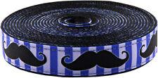 Country Brook Design® 1 Inch Moustache Ribbon on Black Nylon Webbing, 5 Yards