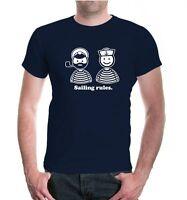 Herren Unisex Kurzarm T-Shirt Sailing rules Funshirt Popeye Kapitän Segeln