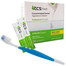 TCS & Silicone Toothbrush ~ 24 Weekly Sachets Cleaning Flexible Dentures Cleaner