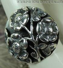 Vintage Forget Me Not Buttercup Flower Shadow Box STERLING SILVER 925 RING sz 5