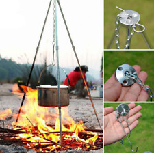 Outdoor Camping Tripod Fire Triangle Bracket Picnic Bbq Cooking Pot Holder Us