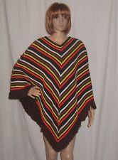 Vintage Crochet Cape Fringe Poncho Chevon Stripes Hippie Boho Festival Small-Lrg
